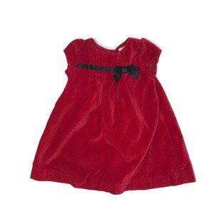 Red velvet polka dot dress with matching bloomers